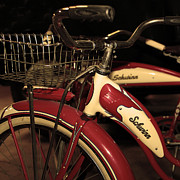 Wingsdomain Art and Photography - Vintage 1941 Boys and 1946 Girls Bicycle 5D25760 Square Sepia2