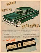 Scrabble Framed Prints - Vintage 1954 Ford Classic Car Advert Framed Print by Nomad Art And  Design