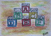 Wood Blocks Paintings - Vintage Abc Wooden Blocks by Kathy Marrs Chandler