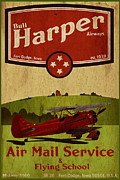 Bi Plane Posters - Vintage Air Mail Service Poster by Cinema Photography