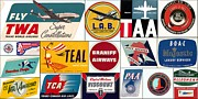Pan American Framed Prints - Vintage Airlines Logos Framed Print by Don Struke