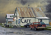 Puddles Framed Prints - Vintage Alaska Cafe Framed Print by Ron Day