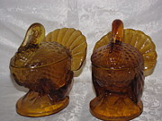 Amber Glass Art - Vintage Amber Glass Turkey by HollyWood Creation By linda zanini