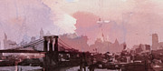 Brooklyn Bridge Painting Prints - Vintage America Brooklyn 1930 Print by Stefan Kuhn