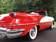 Cards Vintage Metal Prints - Vintage American Car - Red and White 1955 Oldsmobile Convertible Classic Car Metal Print by Kathy Fornal