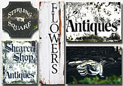 Mixed Media Nature Framed Prints - Vintage antique Signs Collage Framed Print by Anahi DeCanio