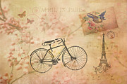 Postmarks Prints - Vintage April in Paris Print by Peggy Collins