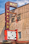 Small Towns Metal Prints - Vintage Art Deco Theatre Marquee - Perry Georgia Metal Print by Mark E Tisdale
