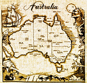 Australia Map Prints - Vintage Australia Map Print by Digital Reproductions