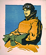 Linoleum Prints - Vintage Aviator 1916 Print by Padre Art
