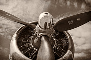 Black-and-white Metal Prints - Vintage B-17 Metal Print by Adam Romanowicz