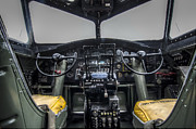 Vintage Aircraft Prints - Vintage B17 Cockpit Print by Puget  Exposure