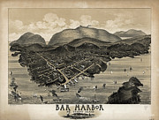 Bar  Harbor Framed Prints - Vintage Bar Harbor Map Framed Print by Edward Fielding