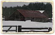 Old Barns Mixed Media Framed Prints - Vintage Barn in Winter Framed Print by Chalet Roome-Rigdon