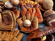 Baseball Mitt Photos - Vintage Baseball by Art Block Collections