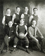 Basketball Players Prints - Vintage Basketball Team Print by Russell Shively