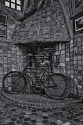 Byzantine Art - Vintage Bicycle BW by Susan Candelario