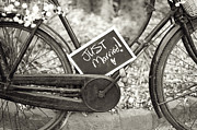Sepia Chalk Framed Prints - Vintage Bicycle With Just Married Chalk Board Framed Print by Lee Avison