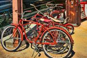 Rack Digital Art - Vintage Bicycles by Linda Phelps