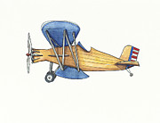 Biplane Paintings - Vintage Blue and Yellow Airplane by Annie Laurie