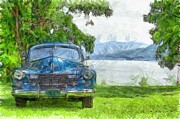 Vintage Blue Caddy At Lake George New York Print by Edward Fielding