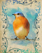 Flourishes Framed Prints - Vintage Bluebird With Flourishes Framed Print by Jai Johnson