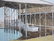 Shed Paintings - Vintage Boat Shed by Robert Rohrich