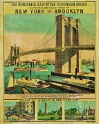 Brooklyn Bridge Posters - Vintage Brooklyn Bridge Poster Poster by Benjamin Yeager