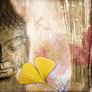 Awareness Digital Art Prints - Vintage Buddha and Ginkgo Print by Delphimages Photo Creations