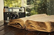 Kur Framed Prints - Vintage camera and ancient book Framed Print by Alem  Omerovic