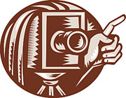 Woodcut Metal Prints - Vintage Camera Hand Pointing Retro Woodcut Metal Print by Aloysius Patrimonio