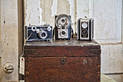 Trio Framed Prints - Vintage Cameras at Warehouse 54 Framed Print by Toni Hopper