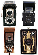 Photo Collage Prints - Vintage Cameras Collage Print by John Rizzuto