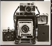 Slr Framed Prints - Vintage Cameras Framed Print by Edward Fielding