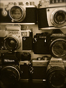 Rangefinder Framed Prints - Vintage Cameras Framed Print by John Colley