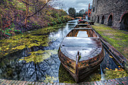 Town Digital Art Metal Prints - Vintage Canal Boat Metal Print by Adrian Evans