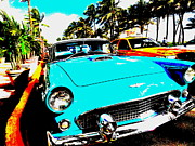 Car Names Posters - Vintage Car in South Beach Miami  Poster by Funkpix Photo Hunter