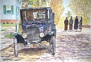 Cobblestone Paintings - Vintage Car Richmondtown by Anthony Butera