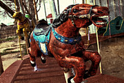 Running Horses Photos - Vintage Carousel Horses 008 by Tony Grider
