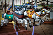Running Horses Photos - Vintage Carousel Horses 010 by Tony Grider