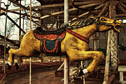 Race Horse Prints Framed Prints - Vintage Carousel Horses 013 Framed Print by Tony Grider