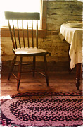 Cabin Window Photos - Vintage Chair and Table by Jill Battaglia