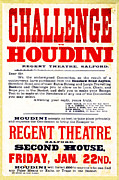 Vaudeville Framed Prints - Vintage Challenge Houdini Poster Framed Print by Wingsdomain Art and Photography