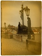 Charles Bridge Photo Metal Prints - Vintage Charles Bridge Prague Metal Print by Richard Cummings