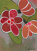 Retro Prints - Vintage Cherry Petals Print by Cindy Davis