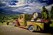 Old Barrels Posters - Vintage Chevy Truck at Oliver Twist Winery Poster by David Smith