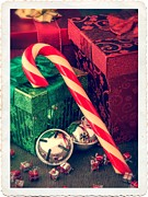 Ribbon Photo Posters - Vintage Christmas Candy Cane Poster by Edward Fielding