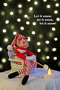Vintage Christmas Elf Toasting A Marshmallow Print by Barbara West