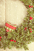 Christmas Natural Posters - Vintage Christmas Garland Poster by Christopher and Amanda Elwell