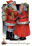 Father Christmas Prints - Vintage Christmas Greetings from Mr and Mrs Claus Print by Tracey Harrington-Simpson